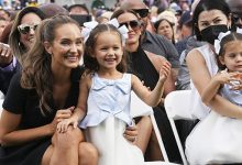 Photo of Derek Jeter's Daughters Bella, 4, & Story, 2, Make Rare Public Appearance At His HOF Induction