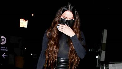 Photo of Selena Gomez Sizzles In Skintight Latex Mini Skirt & Sheer Turtleneck Stepping Out To Dinner In L.A. — Photos