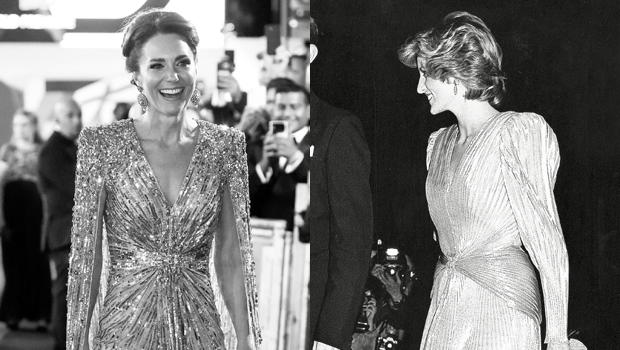 Photo of Kate Middleton's Gorgeous 'No Time To Die' Gown Pays Homage To Princess Diana's Dress At 1985 'Bond' Premiere